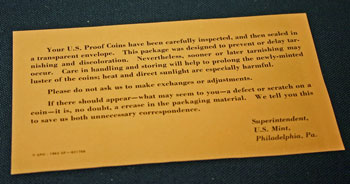 1962 Proof Set note from US Mint