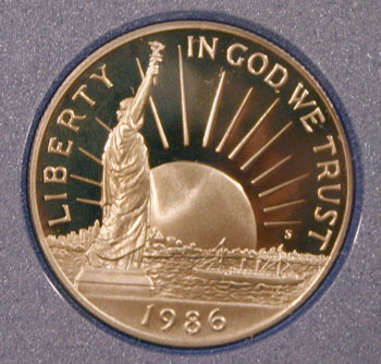 1986 Prestige Set commemorative half dollar obverse