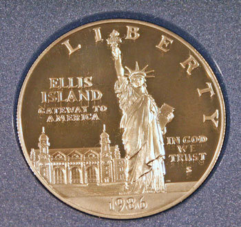 1986 Prestige Set commemorative silver dollar obverse