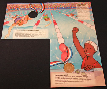 Young Collectors Edition Coin Sets 1996 Atlanta Olympics Swimming coin package unfolded inside