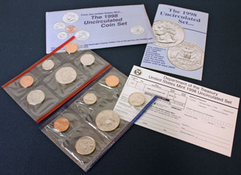 1998 Mint Set opened showing coins and contents