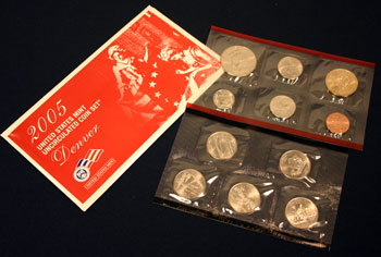 2005 Mint Set Denver envelope opened showing uncirculated coins