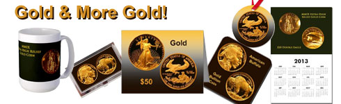 Gold Coin images decorate these GACS Numismatic Shoppe items